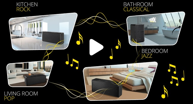 Take Your Music To The Kitchen. This Works The Multiroom Sound
